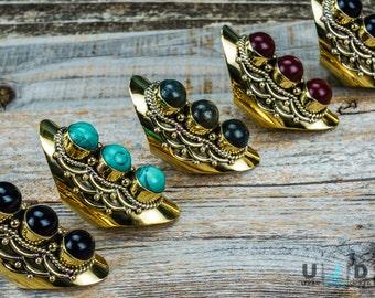 Women's Ring, Gold Ring, Brass Ring, Adjustable Ring, Stone Rings, Turquoise, Coral, Bohemian Jewelry, Boho Ring, Ethnic Ring, Big Ring