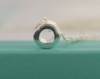 Dainty Ring necklace - Karma necklace - Sterling Silver Circle necklace - Minimalist necklace- Layering necklace - Everyday necklace