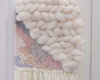 Mia weaving, woven wall hanging, cream/blush wall hanging, wall tapestry, boho wall art