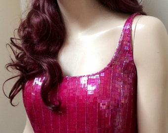 1980s shocking pink sequinned disco diva burlesque dress UK 12-14