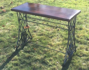 SOLD - Antique Sewing Machine Table, Singer Sewing Machine Table, Reclaimed Wood Table