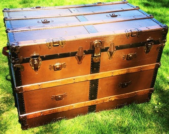 SOLD - Antique Trunk - Steamer Trunk - Shipping Trunk