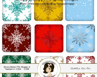 CU4CU, Photoshop Styles, PS Styles, Photoshop, Digital PS Styles, Commercial Use, Instant Download,  Christmas Snowflakes Styles