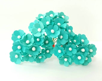 Turquoise paper flowers / turqoise paper flowers / turquoise flowers / small turqoise flowers / turquoise flowers
