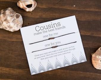 Cousins Best Friends Wish Bracelet, Friendship Bracelet, string bracelet, Make a Wish, Gift for Cousin, Cousin Bracelet, Boy or girl, BFF