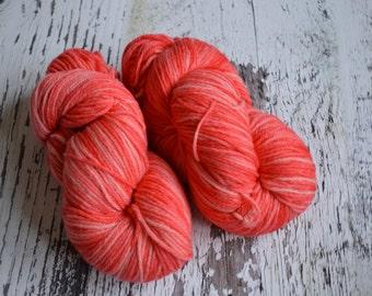 Hand dyed yarn, 100% British Bluefaced Leicester,DK yarn, UK wool, UK yarn, Strawberry Sauce