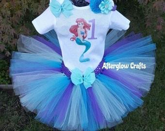 Mermaid Tutu, The Little Mermaid Tutu Set, Litttle Mermaid Tutu, Birthday Mermaid Tutu, Mermaid Birthday Tutu,  Mermaid Tutu Outfit, Mermaid