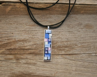 Mosaic Pendant-  Blue Smalti Wearable Art