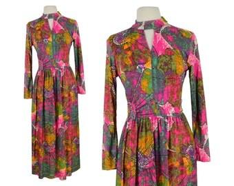 Vintage Dress, 1960s Dress, 60s Dress, Psychedelic Vintage Dress, Boho Dress, Festival Dress, Disco Dress, Keyhole Maxi Dress, Size Small