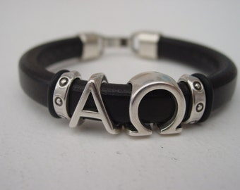 Alpha Omega Sliding Greek Letters Leather Bracelet Men Silver Tone Clip Clasp Fraternity Handmade Infinity