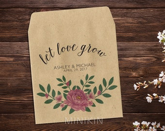 Let Love Grow, Wedding Seed Packets, Pink Peony Flowers, Seed Packets, Custom Seed Packet, Rustic Wedding Favor, Peonies x 25