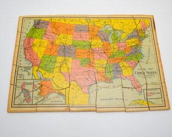 Us Wood Map Etsy - Us jigsaw map wood