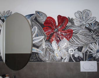 bathroom wall flowers