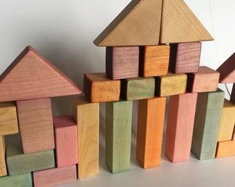 Rainbow Maple Wood Block Set