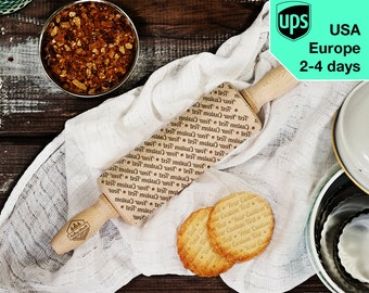 Your custom text - MINI laser engraved rolling pin