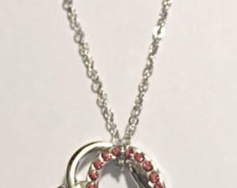 Deep Pink Crystal Hearts Pendant