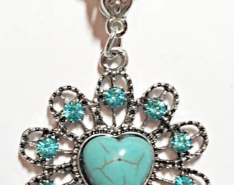 Turquoise Crystal Pendant Necklace ON CLEARANCE