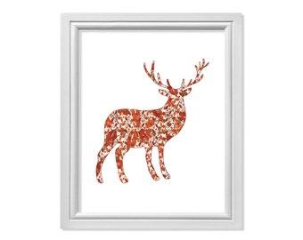 Fall Reindeer, Deer Art, Reindeer Art, Reindeer Wall Art, Deer Print, Deer Antlers, Reindeer Antlers, Autumn Deer, Deer Head, Fall Deer