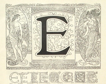 1922 letter E alphabet print - ABC, typography, graphic design, initials - 93 years old French art nouveau illustration (C521)