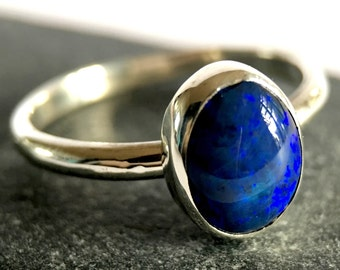 Solid Black Opal Ring. Australian Lightning Ridge Black Opal Ring. Hand Cut Opal. Opal Ring. UK seller Ring size Q, 8 1/4.