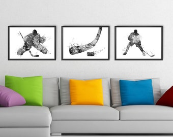 Hockey Poster Set of 3 Prints No2 Black and White, Hockey Player Watercolor Print, Sport Wall Art, Sport Poster, Hockey Decor (A0521)