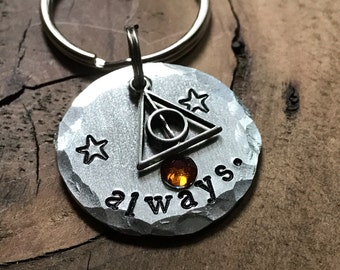 Always. Deathly Hallows Charm Pet Tag, Pet ID Tag, Dog Tag, Hand Stamped Pet Tag