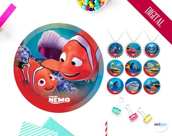 """Finding Nemo Bottle Caps, 12 Designs 1"""" Scrapbook, Finding Nemo Birthday Party Theme Printables Favors Circles Decoration, Instant Download"""