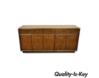 Vintage Drexel Accolade Wood & Brass Campaign Style Credenza Sideboard Cabinet