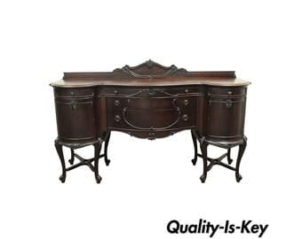 Antique French Renaissance Louis XV Styl Carved Mahogany Buffet Server Sideboard