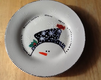 Christmas Snowmen Plates  Handpainted