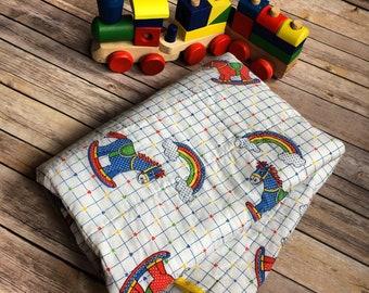 Vintage Rocking Horse Rainbow Quilt