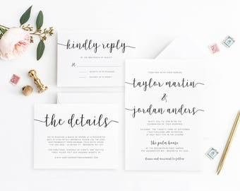 Black and White Printable Wedding Invitation Set, Modern Wedding Invitation Black and White, Calligraphy Wedding Invitation, Wedding Invites
