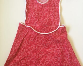 Vintage Handmade Pink Floral Pinafore Girls Size 5