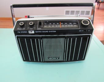 Vintage Sony MR-9100W AM/FM Stereo Matrix Sound System Tabletop Radio Boombox Free Shipping