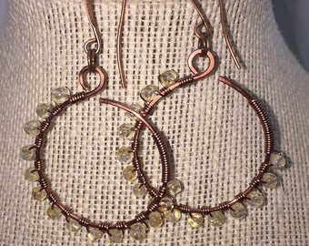 Beaded Citrine Hoop Earrings