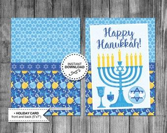 Hanukkah Card | Menorah Candle | Happy Hanukkah | Holiday Card | Greeting Card | Printable | Instant Download