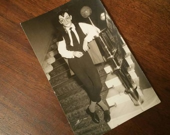 vintage photo man wearing MASK VAMPIRE HALLOWEEN smoking a cigarette