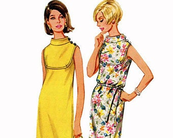 Butterick 4361 Vintage Sewing Pattern Size 16 Bust 36, Women's Slim Sleeveless Dress with Shaped Front Yoke and Funnel Neck-line