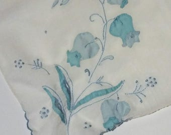 Vintage White Cotton Handkerchief with Blue Flowers (#2308)
