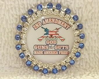 "Gun Pin Jewelry, Swarovski Rhinestone 2nd Amendment Bling Hat Pin or Purse Pin, ""God, Guns, Guts Made America Free"""