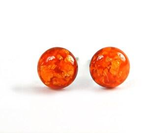 Neon Orange Gold Flake Stud Earrings, Tiny Stud Earrings, Hypoallergenic, Pure Titanium Studs, Gold Leaf, Surgical Steel, Canadian Shop