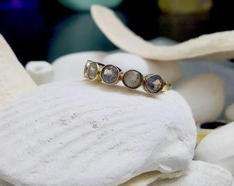 SALE! Multistone ring,Gray rainbow ring,Labradorite ring,gold gemstone ring,vintage ring,bridesmaid rings,wedding gifts,stack ring