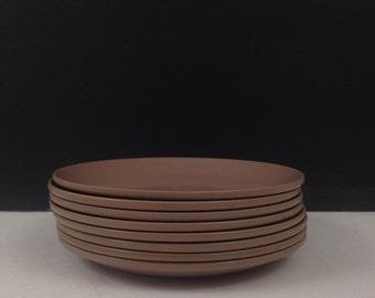 "Melmac Taupe Light Brown Melamine 5 7/8"" Bread Plates 6105 Set of 8"