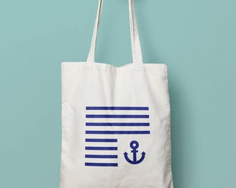Hand painted tote bag sailor