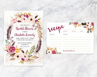 Printable Bridal Shower Invitation Card in Bohemian Rustic Flower Wreath Water Color