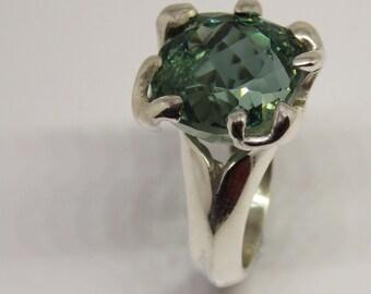 Gemstone Ring, big Silver Ring , Garnet Ring, Green Grant  Ring, Garnet Ring, Sterling Silver Ring ,big Engagement Rings,  Gemstone Rings