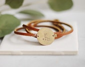 Customized Leather Wrap Bracelet, Small Brass Round