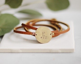 Hand Stamped | Small Round | Customized | Leather & Brass | Wrap Bracelet