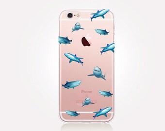 Transparent Sharks Phone Case- Transparent Case - Clear Case - Transparent iPhone 7 - Clear iPhone 7 Plus - Gel Case - Soft TPU - iPhone SE