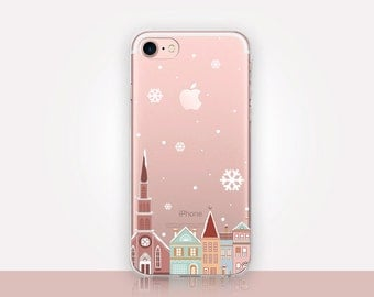 Transparent Christmas Town Phone Case - Transparent Case - Clear Case - Transparent iPhone 7 - Samsung S7 - Soft TPU - Gel Case - iPhone SE